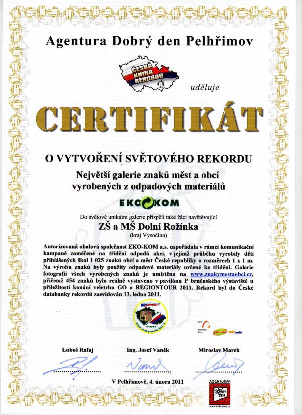 certifikát k narozeninám Získali jsme certifikát « ZŠ a MŠ Dolní Rožínka certifikát k narozeninám
